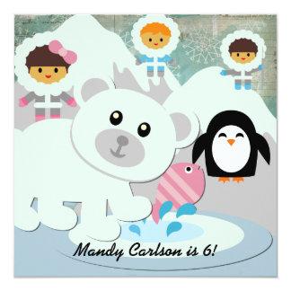 Polar Bear Winter Fun Custom Birthday Invitations