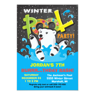 Polar Bear Winter Pool Party Plunge Card