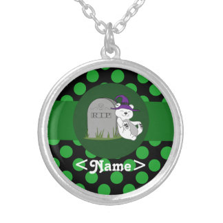 Polar Bear Witch with Grave Stone & Green Dots Round Pendant Necklace