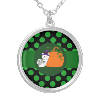 Polar Bear Witch with Pumpkin & Green Dots Round Pendant Necklace