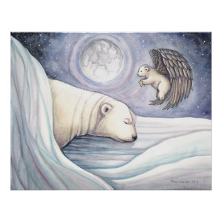 Polar Bear with Angel Watercolor Poster