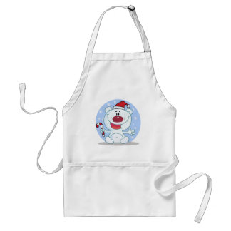 Polar Bear With Candy Cane Holiday Tshirts Aprons