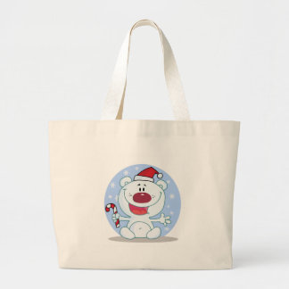 Polar  Bear With Candy Cane Holiday Tshirts Tote Bags