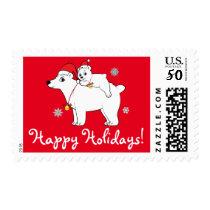 Polar Bear with Cub and Santa Hats Happy Holidays Postage