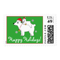 Polar Bear with Cub and Santa Hats Happy Holidays Postage
