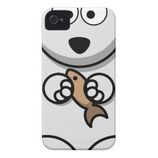Polar Bear With Fish Cartoon iPhone 4 Cover