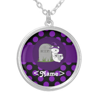 Polar Bear with Grave Stone & Purple Dots Round Pendant Necklace