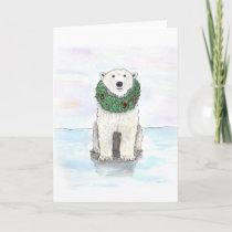 Polar Bear with Holiday Wreath
