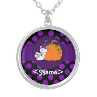 Polar Bear with Pumpkin & Purple Dots Round Pendant Necklace