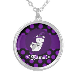 Polar Bear with Witch Hat & Purple Dots Round Pendant Necklace