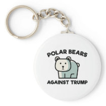 Polar Bears Against Trump Keychain