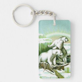 Polar Bears and Northern Lights Keychain