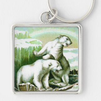 Polar Bears and Northern Lights Silver-Colored Square Keychain