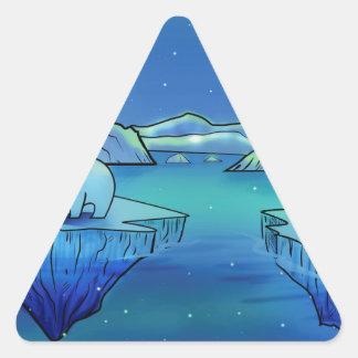 Polar Bears and Northern Lights Triangle Sticker
