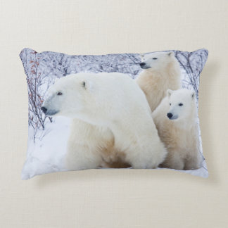 Polar Bears and Two cubs Accent Pillow