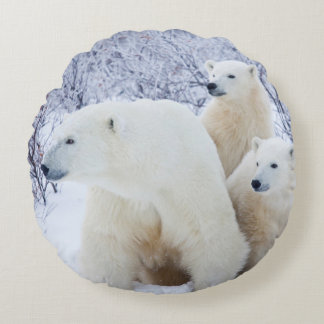 Polar Bears and Two cubs Round Pillow