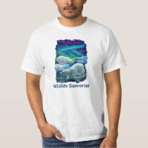 Polar Bears & Aurora Wildlife-supporter Art Tee
