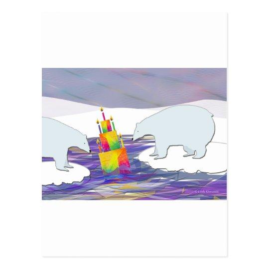 Polar Bears Birthday Cake Postcard