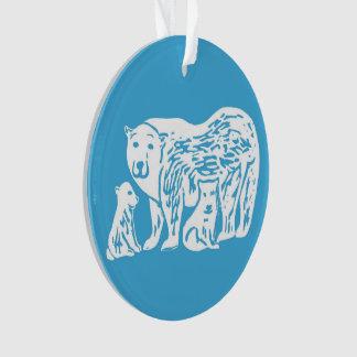 Polar Bears Blue and White Circle Ornament