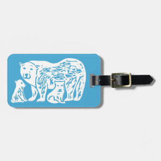 Polar Bears Blue and White Luggage Tag
