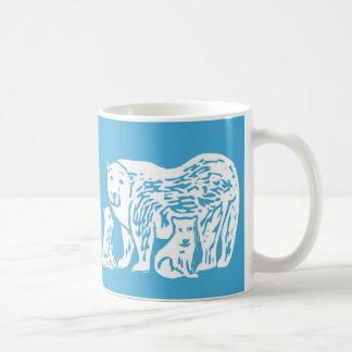Polar Bears Blue and White Mug