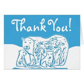 Polar Bears Blue and White Thank You Card