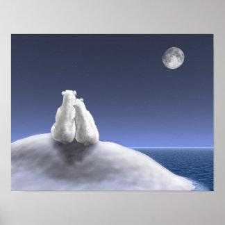 Polar Bears by Moonlight Poster