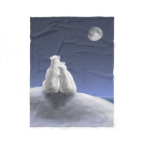Polar Bears by Moonlight Small Fleece Blanket