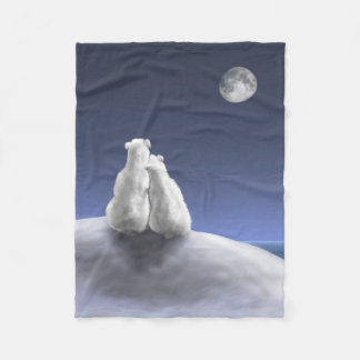 Polar Bears by Moonlight Small Fleece Blanket