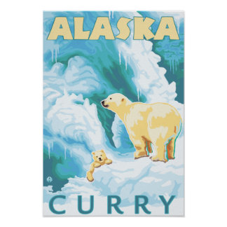 Polar Bears & Cub - Curry, Alaska Posters