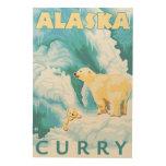 Polar Bears & Cub - Curry, Alaska Wood Prints
