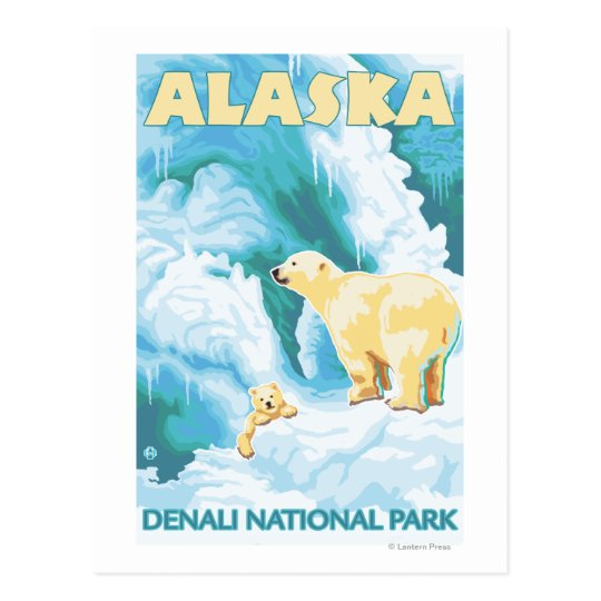 Polar Bears & Cub - Denali National Park, Alaska Postcard