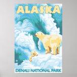 Polar Bears & Cub - Denali National Park, Alaska Poster