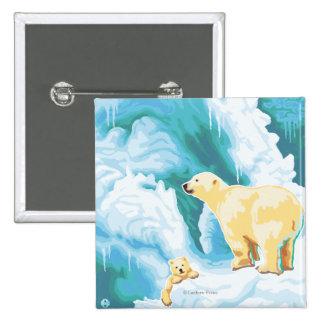 Polar Bears & Cub - Katmai, Alaska Button