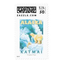 Polar Bears & Cub - Katmai, Alaska Postage
