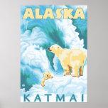 Polar Bears & Cub - Katmai, Alaska Poster