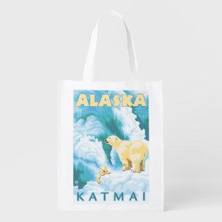 Polar Bears & Cub - Katmai, Alaska Reusable Grocery Bag