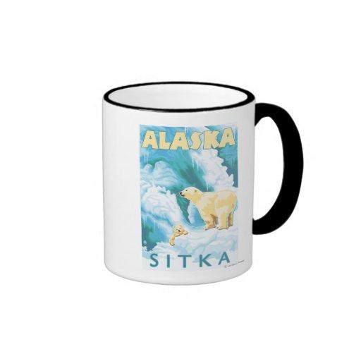 Polar Bears & Cub - Sitka, Alaska Ringer Coffee Mug
