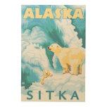 Polar Bears & Cub - Sitka, Alaska Wood Wall Art