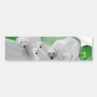 Polar Bears, cubs and northern lights Bumper Sticker