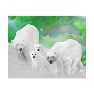 Polar Bears, cubs and northern lights Canvas Print