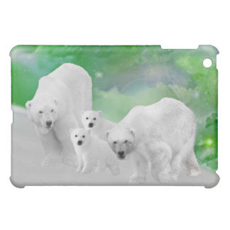 Polar Bears, cubs and northern lights iPad Mini Cover