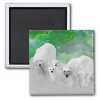 Polar Bears, cubs and northern lights Magnet