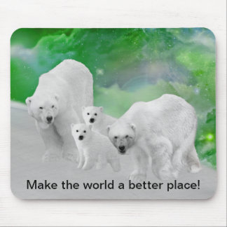 Polar Bears, cubs and northern lights Mouse Pad