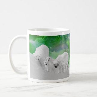 Polar Bears, cubs and northern lights Mugs