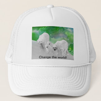 Polar Bears, cubs and northern lights Trucker Hat