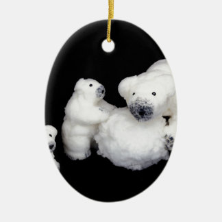 Polar bears family figurines playing with snowball ceramic ornament