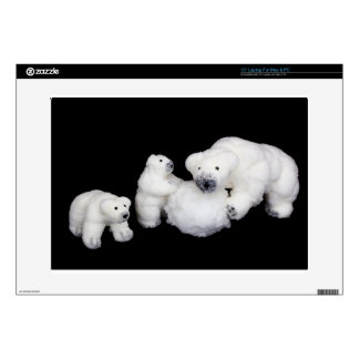 "Polar bears family figurines playing with snowball decals for 15"" laptops"