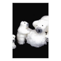 Polar bears family figurines playing with snowball stationery