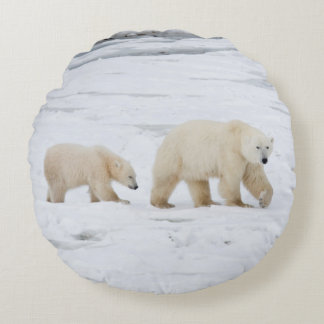 Polar Bears female and Two cubs 2 Round Pillow